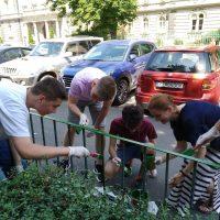 Maľovanie plotu pred budovou školy (4/9)